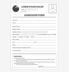 Clean application form for admission document vector