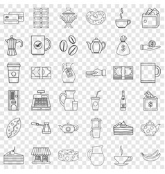 Coffee icons set outline style vector