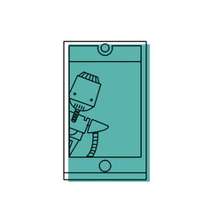 color smartphone technology with robot machine vector image