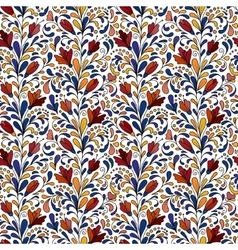 Colorful hand drawn seamless floral pattern vector image
