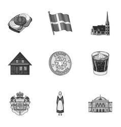 Country denmark sea and other web icon in vector