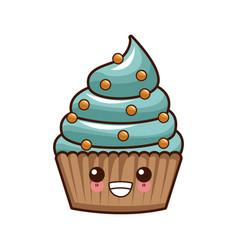 cupcake delicious dessert kawaii cute cartoon vector image