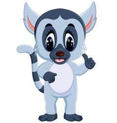 cute lemur cartoon waving hand vector image