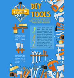 Diy work tools poster for home repair vector