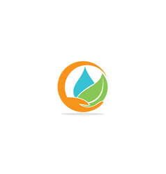 Eco water green leaf save logo vector