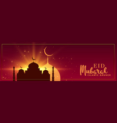 Eid mubarak occasion banner design vector
