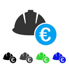 Engineering helmet and euro flat icon vector