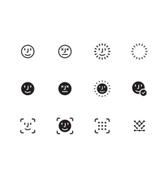 Face biometrics icons on white background vector