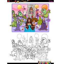 fantasy characters coloring page vector image