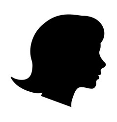 female head profile silhouette black picture vector image