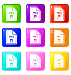 File mp3 icons 9 set vector