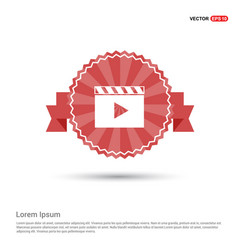 film strip icon - red ribbon banner vector image