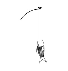 fishing rod and fish hobby sport activity vector image