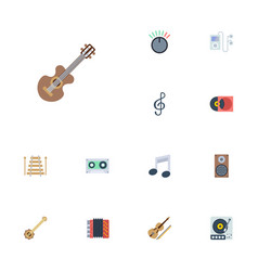Flat icons banjo tape tone symbol and other vector