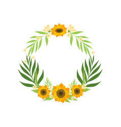 floral wreath with sunflowers and leaves circle vector image