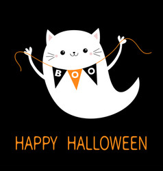 Flying cat ghost spirit holding bunting flag boo vector