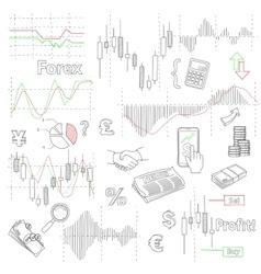forex market hand drawn background vector image