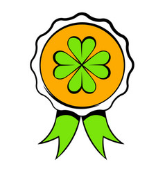 four leaves clover badge icon icon cartoon vector image