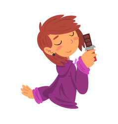 Funny girl holding chocolate bar sweet tooth girl vector