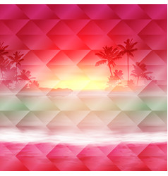 geometric background with sea sunset time vector image