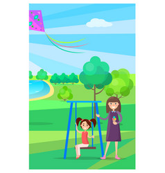 Girl on swing and mother holding ice cream nearby vector