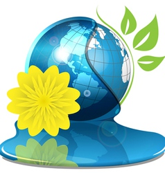 globe with water and yellow flower vector image