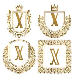 golden vintage monograms set heraldic logos x vector image