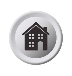 grayscale circular frame with home vector image