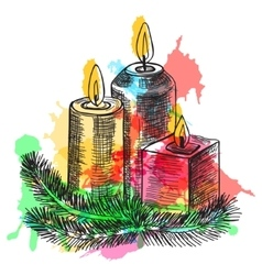 Hand drawn sketch Burning candle in christmas vector image