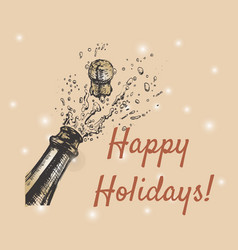 happy holidays hand drawn of vector image