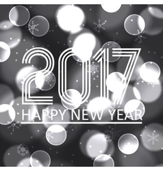Happy new year 2017 on grayscale bokeh circle vector
