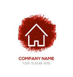 Home icon - red watercolor circle splash vector