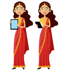 Indian smiling business woman standing vector