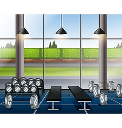 Inside weightlifting room with benches vector