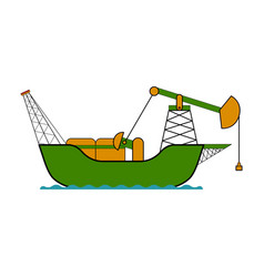 Isolated colored oil ship vector
