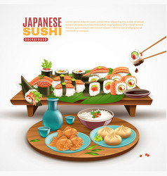 japanese sushi background vector image