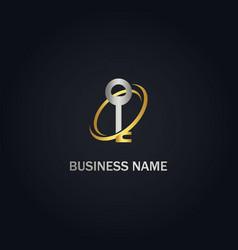 key secure technology gold logo vector image