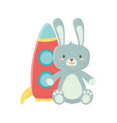 Kids toy rabbit furry and plastic rocket toys vector