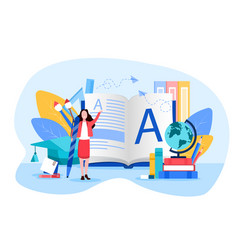 learning concept with student and text books vector image