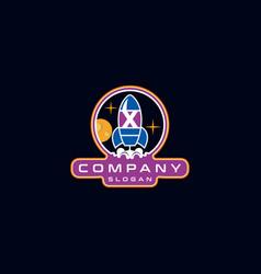 Letter x rocket logo design vector
