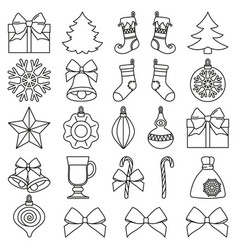Line art black and white 25 christmas elements set vector