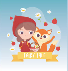 Little red riding hood wolf apples and flowers vector
