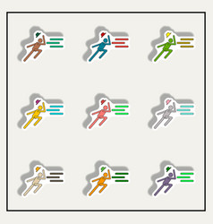 Man running in storm collection vector