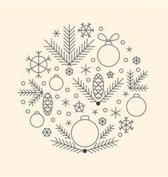 Minimalistic linear new year round ornament vector