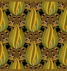 modern elegance floral greek key meanders vector image