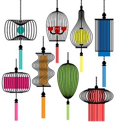 modern lamp set vector image