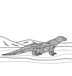 Monitor lizard coloring book for adults vector