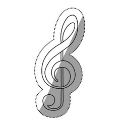 Monochrome contour silhouette with sign music vector
