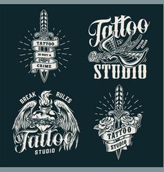 monochrome tattoo salon prints vector image
