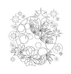 Moon with succulent design vector